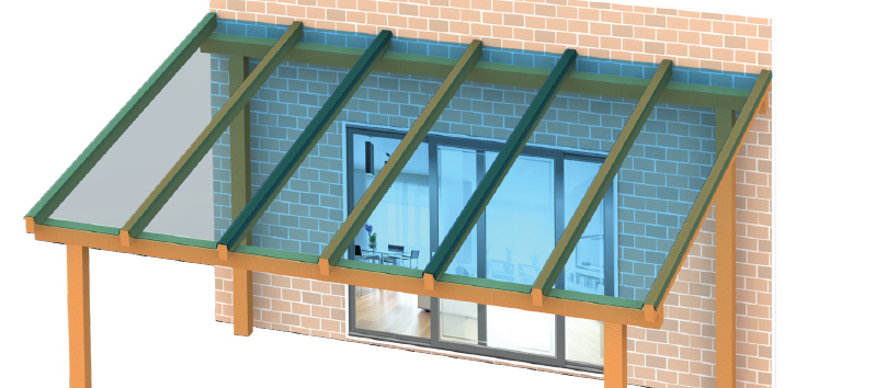 EZ-Glaze glass like profiled polycarbonate pergola Diagram